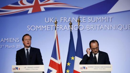 Amiens (Somme), jeudi 3 mars 2016. LePremier ministre britannique David Cameron et le président français François Hollande au sommet franco-britannique.