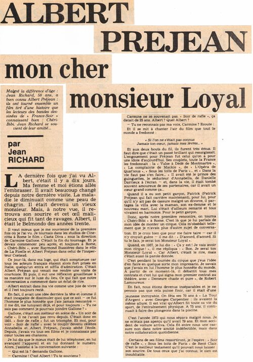 "Hommage à Albert Préjean , le ""cher Monsieur Loyal"" de Jean Richard  (archives Raymond Marti)"