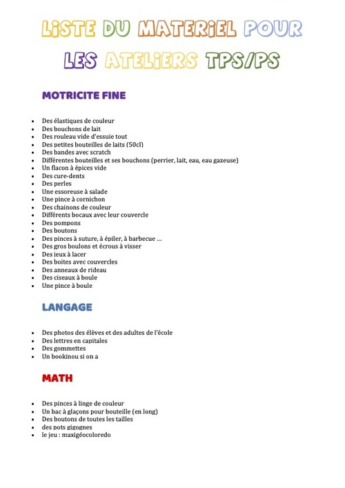 Liste du matériel