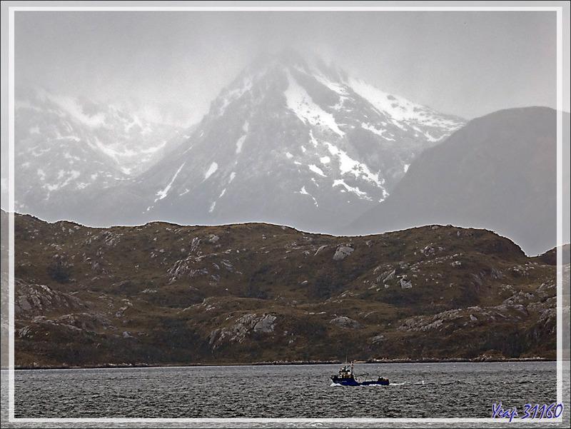 Bateau de pêche dans un canal entre le Détroit de Magellan et le Cap Horn - Patagonie - Chili