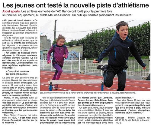 LU DANS LA PRESSE : LA NOUVELLE PISTE A L'HONNEUR...