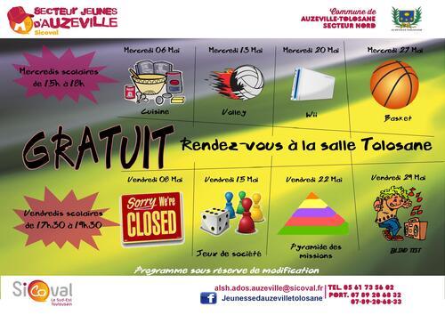 ALSH Ados Auzeville : le programme de mai