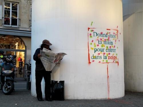 street-art Beaubourg texte neige 1