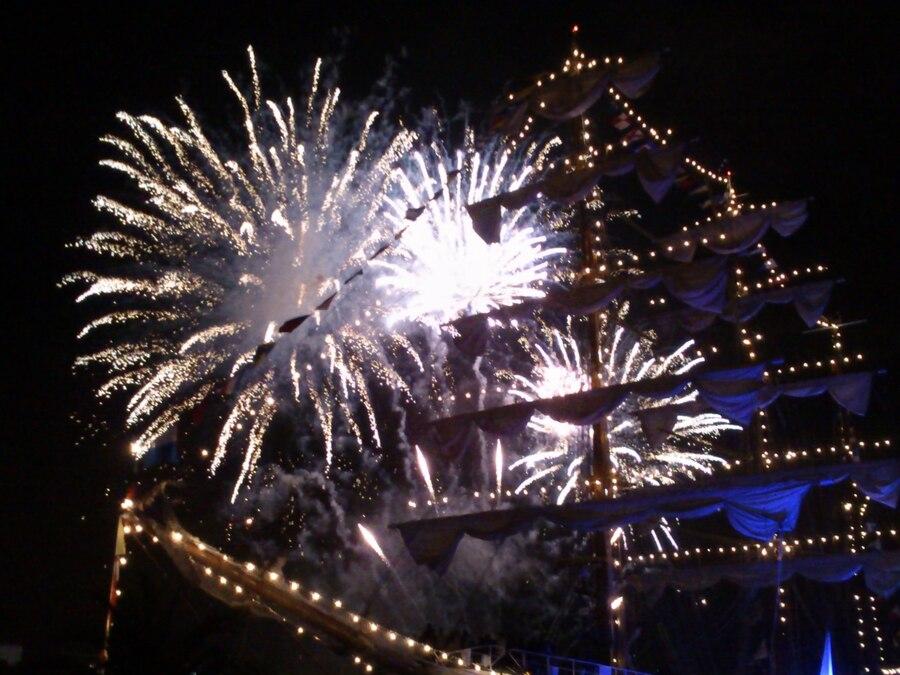 Le soir de la fête du fleuve à Bordeaux