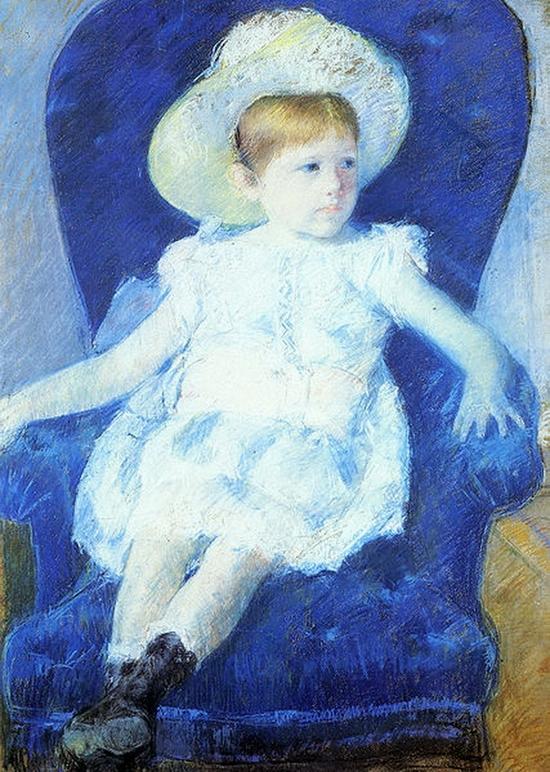 Mary Cassatt, Elsie sur un canapé bleu