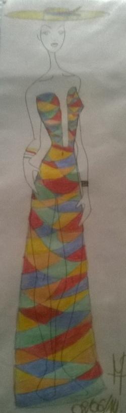 Dessin d'une robe longue coloré