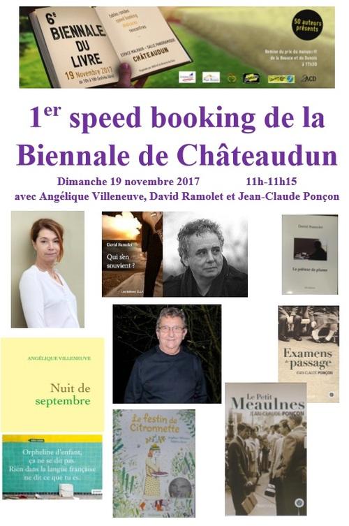 annonce du 1er speed booking réalisé par des auteurs à la biennale de Châteaudun le 19 nov 2017