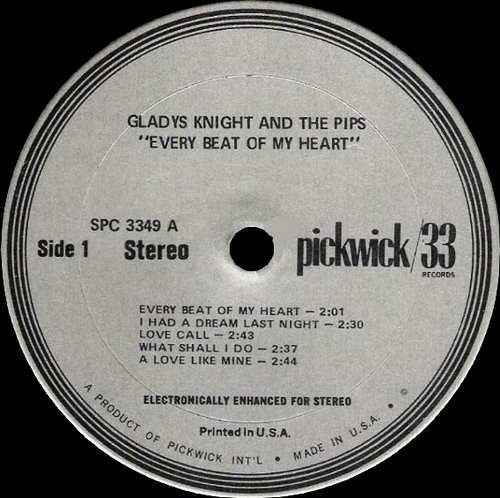 """Gladys Knight & The Pips : Album """" Every Beat Of My Heart """" Pickwick Records SPC 3349 [ US ]"""