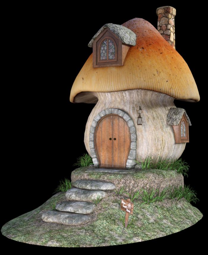 Tube de maison champignon de fée (render)