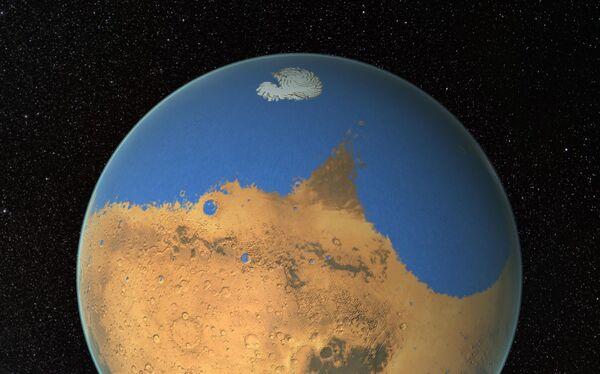Un océan martien, empli d'eau salée, a sans doute un jour recouvert une partie de l'hémisphère nord de Mars, où les altitudes sont très basses. Toutefois, son étendue et sa durée d'existence restent hypothétiques. © Nasa, GSFC