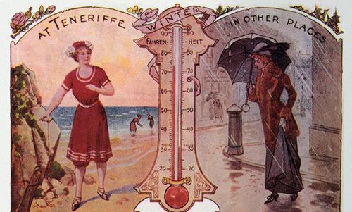 Une vieille publicité ventant les mérites du climet de Ténérife ...