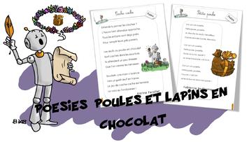 Poésies poules et lapins  en chocolat
