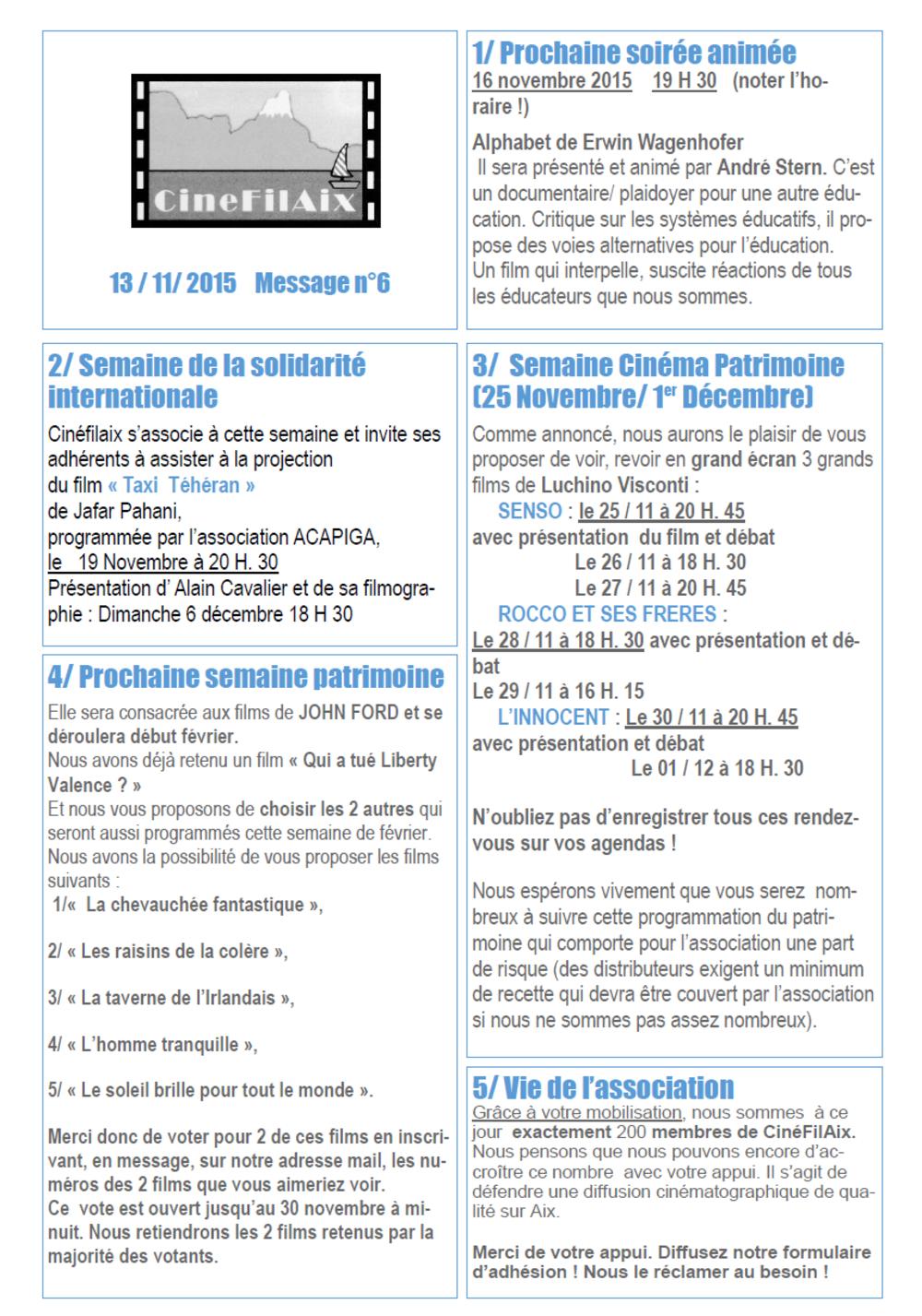 message N ° 6 CinéFilAix
