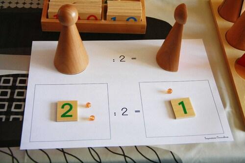 La division par 2, 3 et 4 avec les quilles des fractions