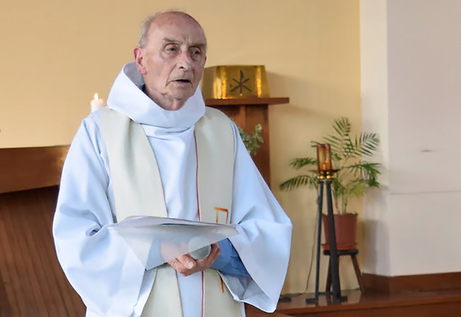 "This picture obtained on the website of the Saint-Etienne-du-Rouvray parish on July 26, 2016 shows late priest Jacques Hamel celebrating a mass on June 11, 2016 in the church of Saint-Etienne-du-Rouvray, Normandy.  The 84-year-old Jacques Hamel died on July 26, 2016 after his throat was slit after two attackers stormed the church during a morning mass, taking the five people inside hostage, including the priest, interior ministry spokesman said. / AFP PHOTO / http://ser-ta-paroisse.over-blog.org/ / HO / RESTRICTED TO EDITORIAL USE - MANDATORY CREDIT ""AFP PHOTO / PAROISSE SAINT-ETIENNE-DU-ROUVRAY"" - NO MARKETING NO ADVERTISING CAMPAIGNS - DISTRIBUTED AS A SERVICE TO CLIENTS"