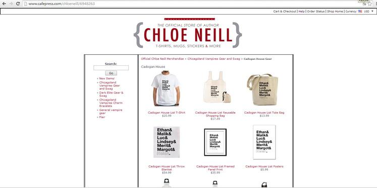 Shopping avec les livres de Chloé Neill