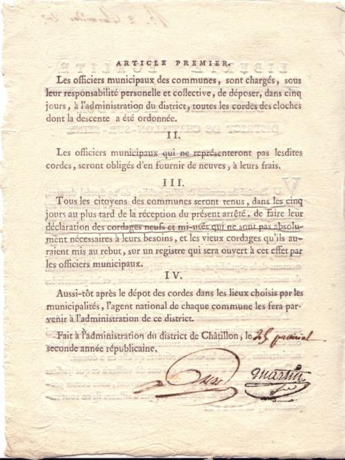 D'autres documents sur la période révolutionnaire en Châtillonnais, offerts par François Saison...