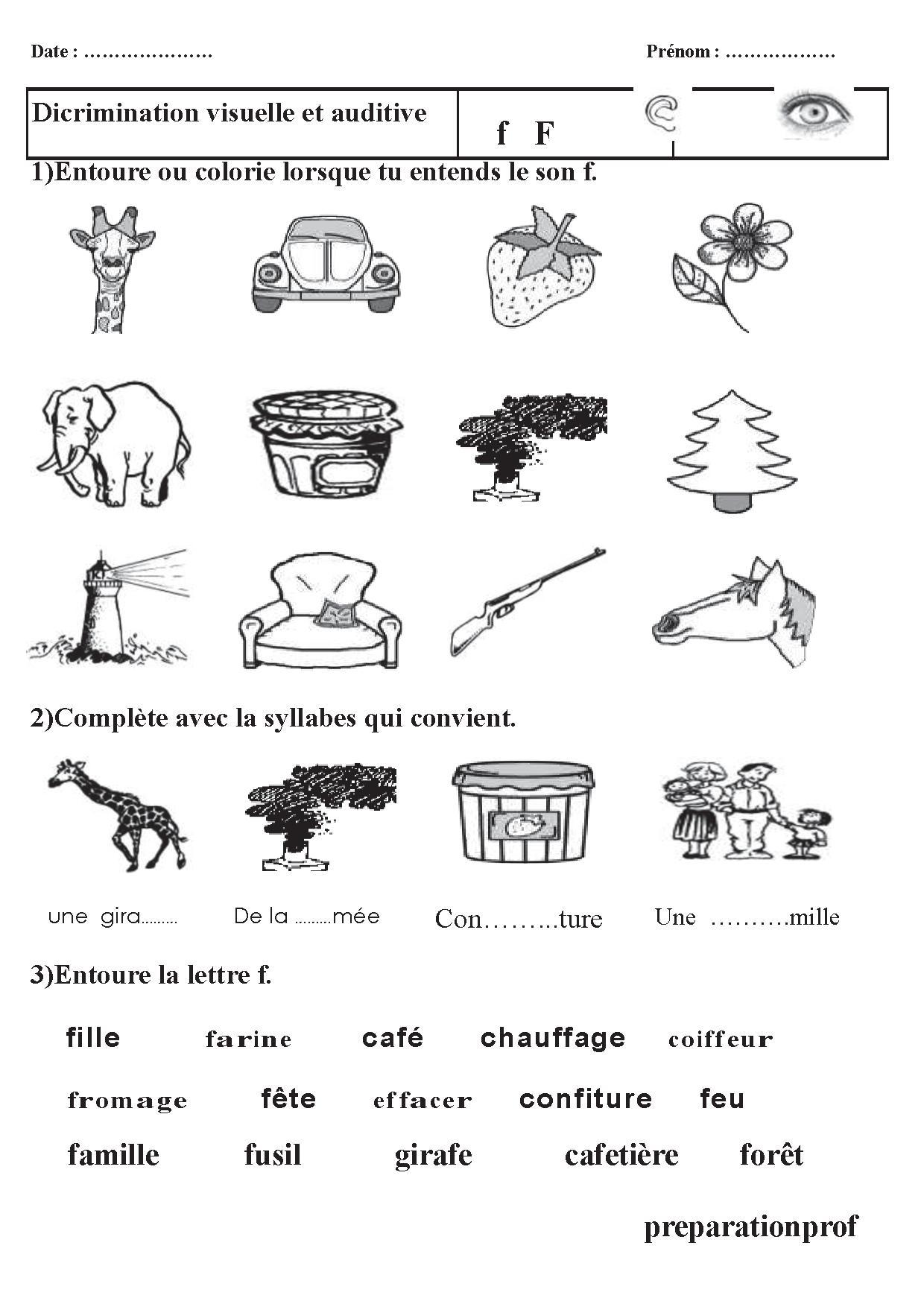sons et syllabes exercices CP et CE1, discrimination ...