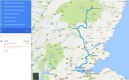 Mon programme des visites - Road Trip écossais