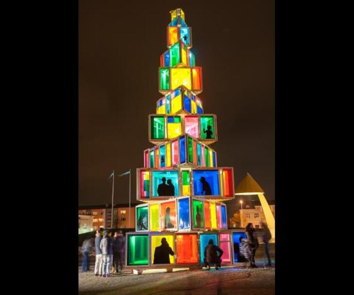 Estonie, Rakevere, sapin Noël fenêtres