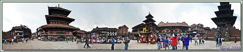360° sur la place Taumadhi Tole - Bhaktapur - Vallée de Katmandou - Népal