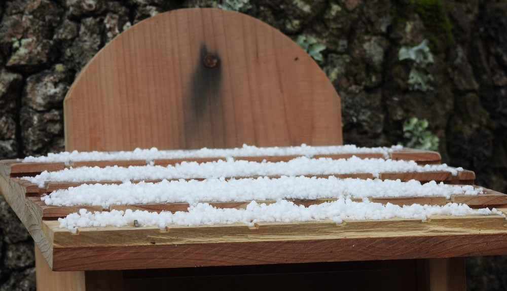 Quelques flocons de neige, sur le Bassin d'Arcachon...