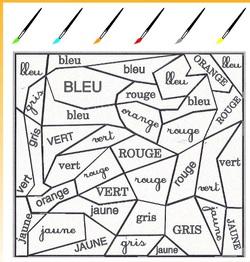 Coloriage magique couleurs : Rouge, vert, jaune, bleu, orange, gris