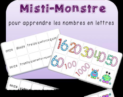 Misti-Monstre: jeu de cartes pour apprendre à écrire les nombres en lettres