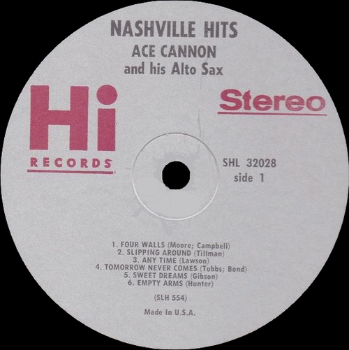 "Ace Cannon & His Alto Sax : Album "" Nashville Hits "" Hi Records SHL 32028 [US]"