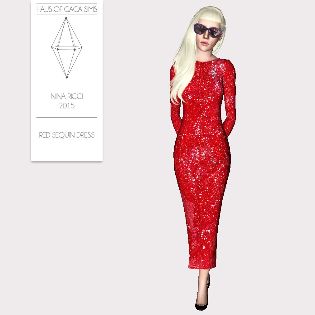 NINA RICCI 2015 RED SEQUIN DRESS