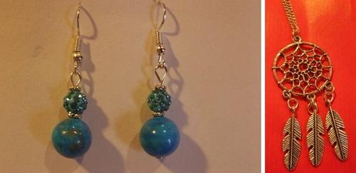 Boucles d'oreilles en perles de turquoise et shamballa - Sautoir attrape rêve