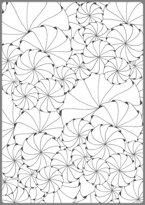Un coloriage zen : colorier un tourbillon d'hélices