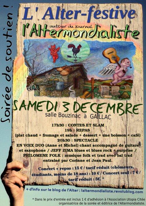 Agenda : L'Alter-festive, en soutien au journal, le 3 décembre à Gaillac !