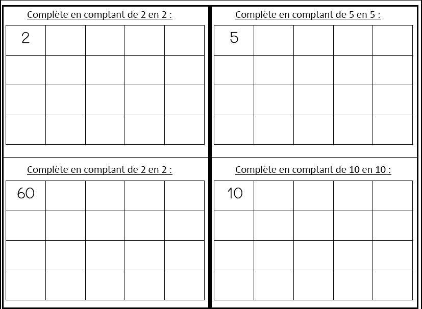 Populaire Compter de 2 en 2, 5 en 5 et de 10 en 10 - L'école de Crevette BC93