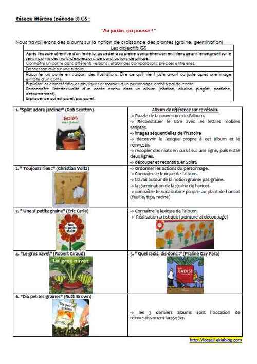 """Réseau littéraire GS période 3 : """"Au jardin, ça pousse !"""""""
