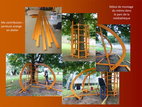 Début de montage du Mémo dans le parc de la médiathèque de Frontenac