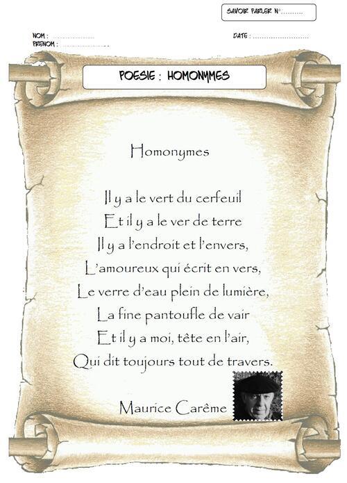 "Poème de Maurice Carême : ""Homonymes"""