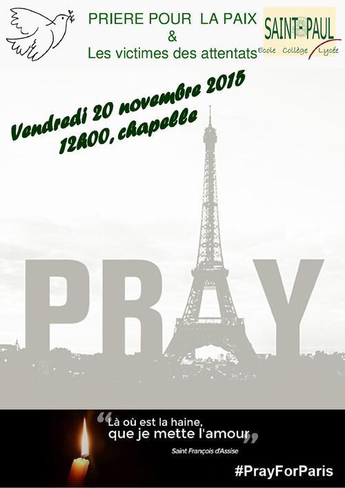 Prière pour la Paix et les victimes des attentats