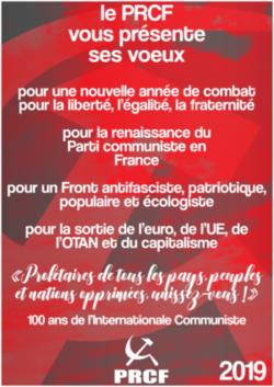 2019 : le PRCF remercie les partis communistes du monde entier et s'associe à leurs vœux !