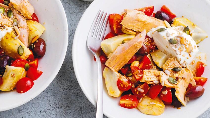 Salade artichauts, tomates cerises, mozza, thon