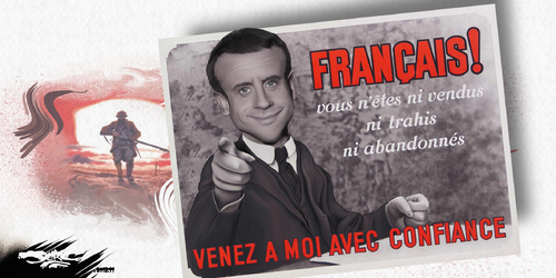 dessin de JERC et texte d'AKAKU du mardi 13 novembre 2018 caricature Emmanuel Macron Il a toujours un avis... tranchée www.facebook.com/jercdessin @dessingraffjerc