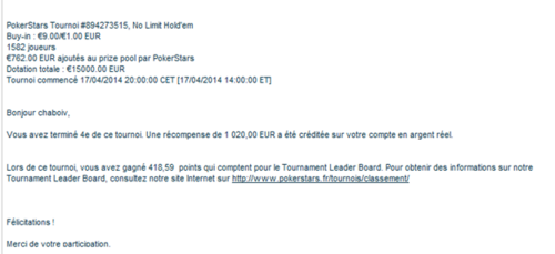 resultat Big 10€  PS