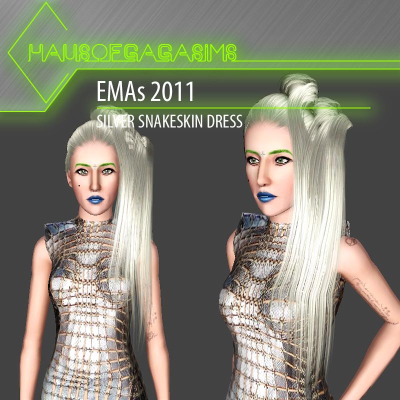 MTV EMAs 2011 PACO RABANNE SILVER SNAKESKIN DRESS