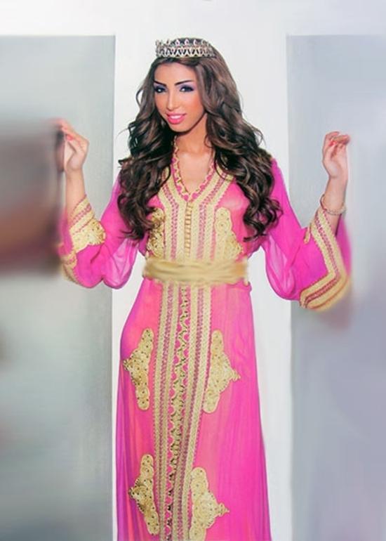 Caftan marocain pour mariée broderie haute couture rosz et doré perlage, caftan pas cher et sur mesure KAF-S844
