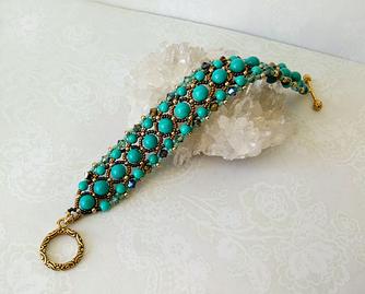 Bracelet tissé Pierre de Turquoise et Cristal de Swarovski / Fermoir en T Métal doré (Gold plated)