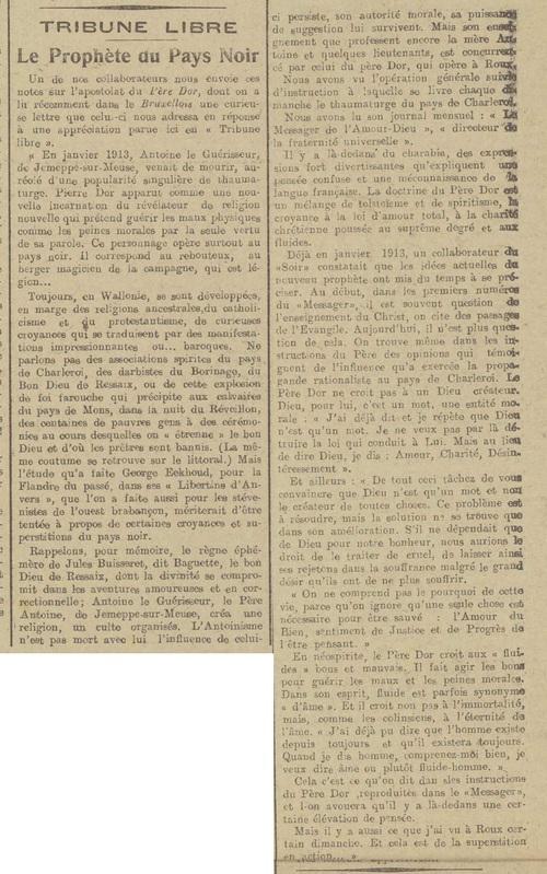 Le Prophète en pays noir (Le bruxellois, 30 juillet 1916)