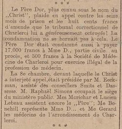 Le Père Dor fait appel (L'écho belge,  22 avril 1917)