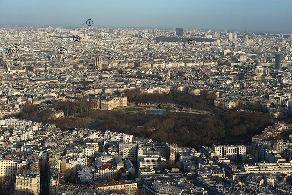 Panorama de Paris vu de la terrasse panoramique de la Tour Montparnasse