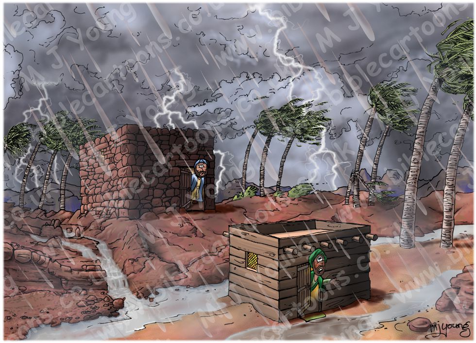Matthew 07 - Parable of wise and foolish builders - Scene 04 - Storm approaching