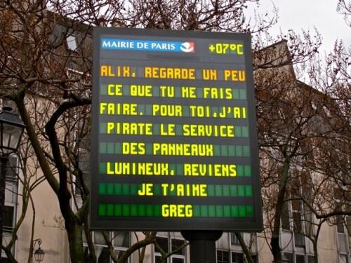 Saint-Valentin panneaux lumineux message pirate